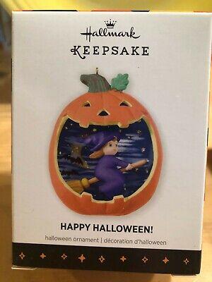 2013 Hallmark Ornament Happy Halloween Witch Pumpkin 1st in Series NIB