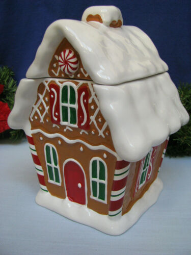 Gingerbread House Christmas Cookie Jar Pot Plant Holder Vase Holiday Room Decor