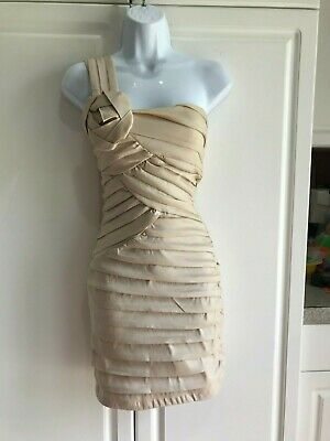Used, Pre-Owned City Triangles Formal Dress Size 3 Pleated One Shoulder Stretch Gold for sale  Auburn