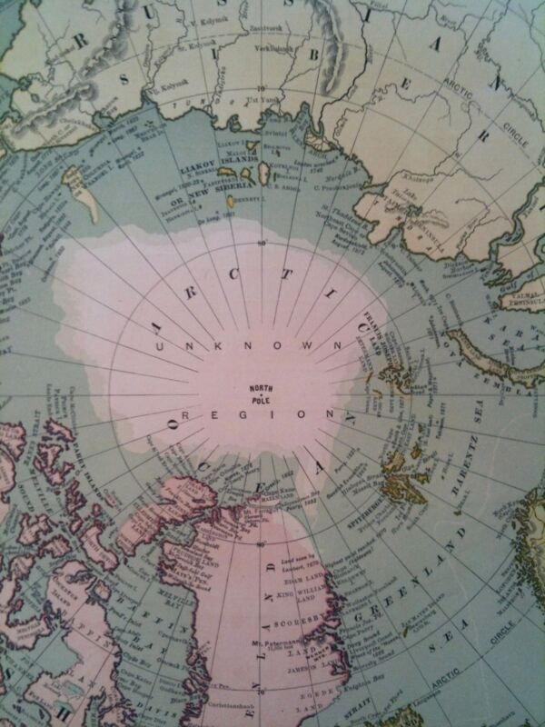 Antique 1892 North Pole Unknown Region Map Excellent Large Wall Size 15 1/2 x 22
