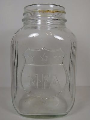 Vtg MISSOURI FARMERS ASSOCIATION MFA ADVERTISING EMBOSSED MASON JAR FARM OIL AG