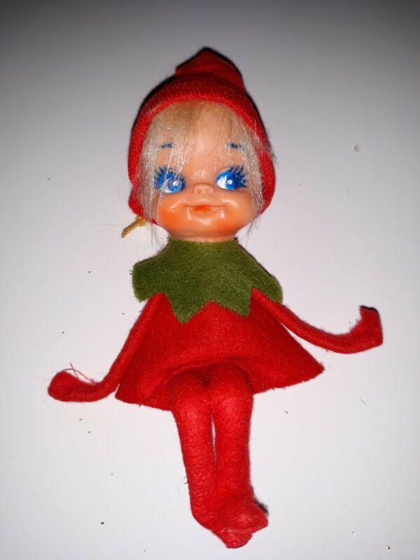 Vintage Felt Christmas Shelf Elf Pixie Doll Ornaments Japan