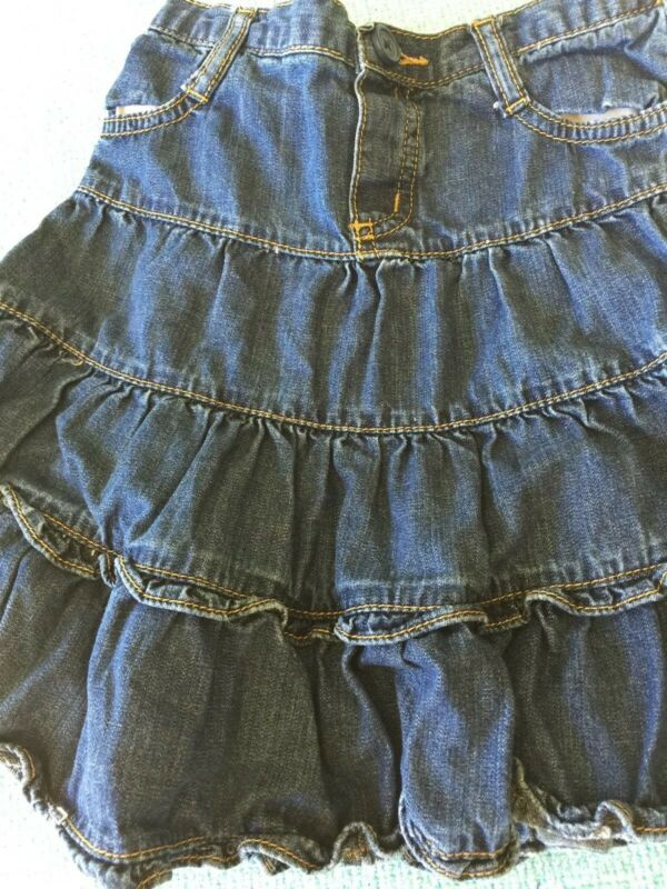 Girls Childrens  Place Ruffled Tiered Blue Jean Skirt  Sz 6 Front Zip