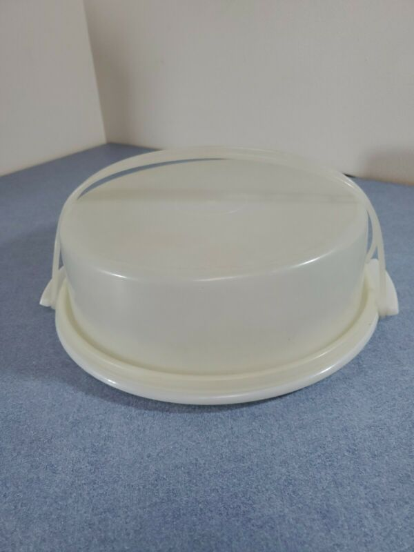 TUPPERWARE Pie Cake Carrier #719 w/Handle #721 WHITE/SHEER