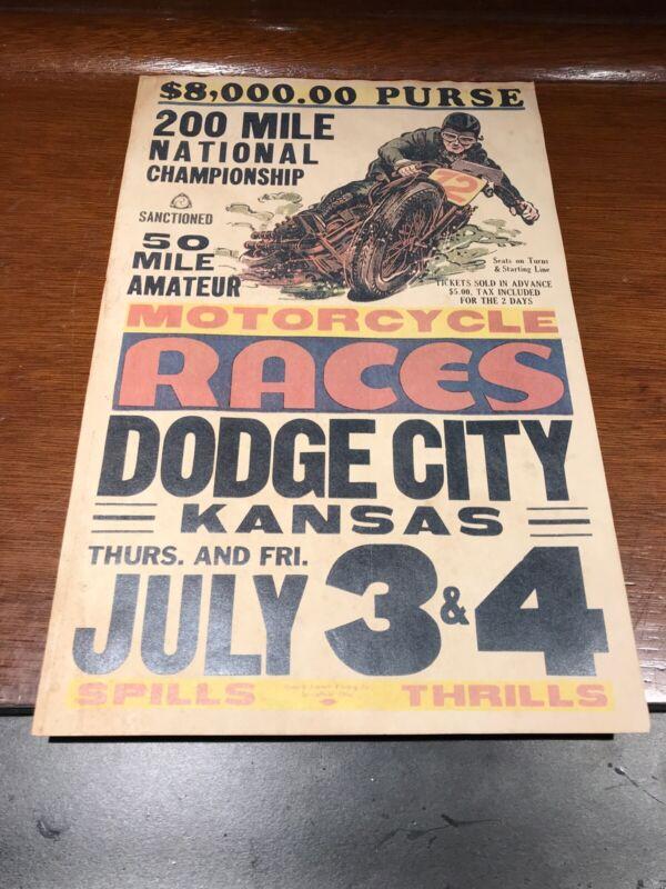 Motorcycle Races Dodge City Kansas Promotional Poster Flyer July 3-4 Kansas