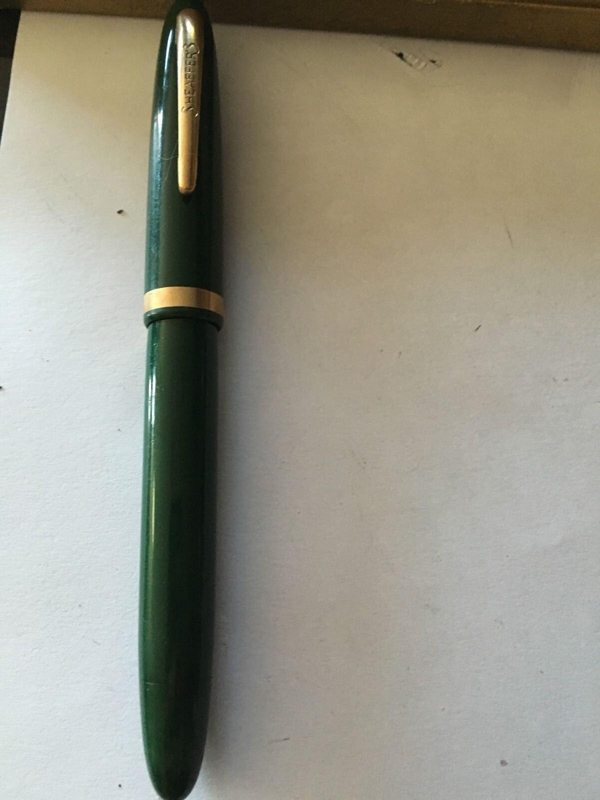 Rare Sheaffer Vintage Green Antique Fountain Pen 14kt Nib #5