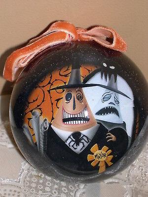 Disney Nightmare Before Christmas Mayor Decoupage Style Ball Ornament New