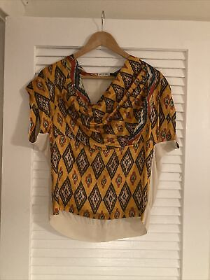 Dries Van Noten Ikat Silk Printed Blouse Size 40