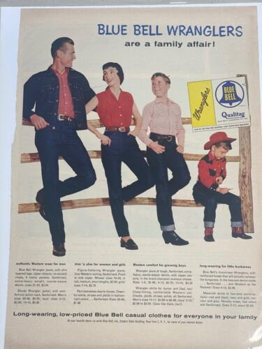 Blue Bell Wranglers vintage blue jeans fashion advertisement AD