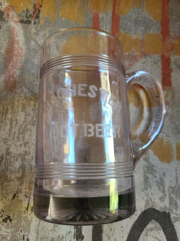 Vintage Rochester NY Glass Mug Root Beer J. Hungerford Smith Co. Excellent