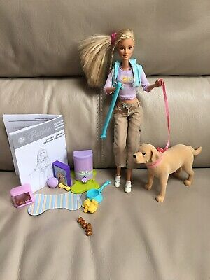 Barbie Doll With Pooping Tanner Pet Dog + all accessories