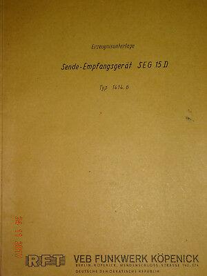 SEG 15D  deutsche Erzeugnisunterlage, RFT / Funkwerk Köpenick