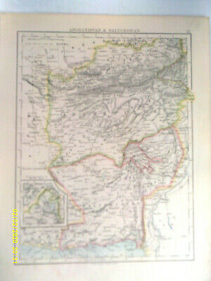 Double-sided Antique Map. AFGANISTAN & BALUCHUSTAN. / SIAM, ANAM &c. c1895. VG.