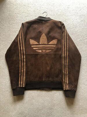 Adidas Mens Leather Bomber Jacket XL Brown Zip GENUINE VINTAGE DEADSTOCK