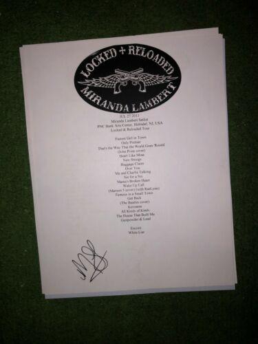 Miranda Lambert Signed setlist reproduction