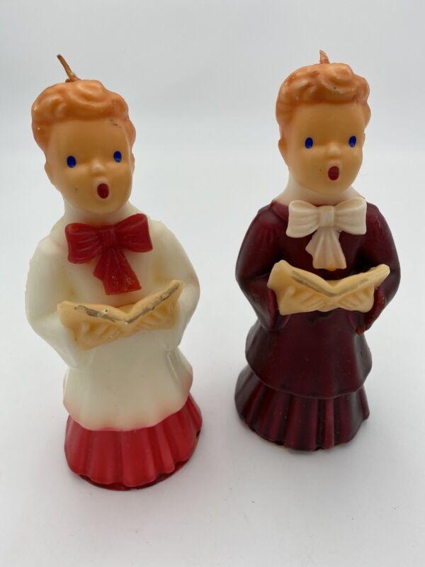 """2 Vintage 7"""" Tall Gurley CHOIR Boy Boys WAX CANDLE Unused Novelty Church"""