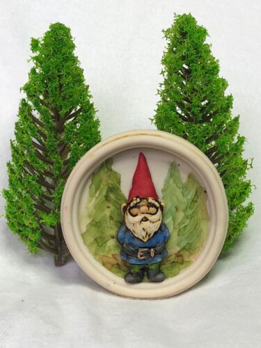 Harmony Kingdom Art Neil Eyre Designs Gnome Troll Magnet Hand Painted Trees gold