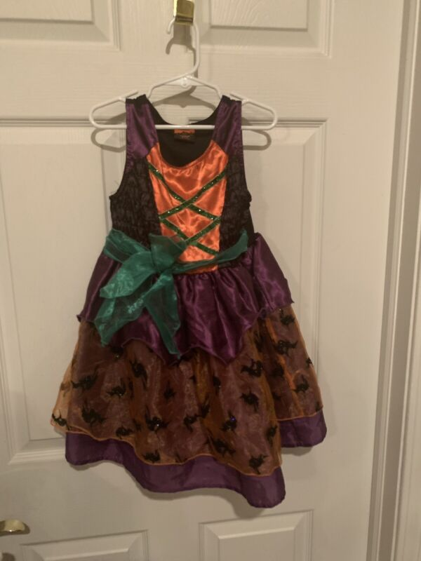 Childrens Place Witch Costume Child Size Small 5/6 Black Orange Purple Green Hat