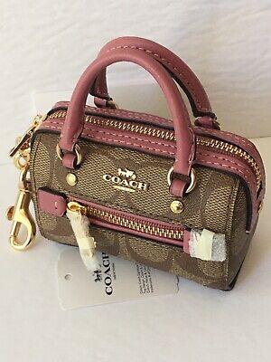 NWT Coach 1716 Mini Rowan Satchel Bag Charm in Signature Canvas
