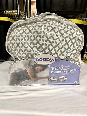 Boppy Side Sleeper Pregnancy Maternity Pillow, Gray and White - USED