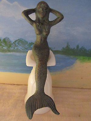 Cast Iron Sitting Mermaid Figure Nautical Decor Statue Very Nice