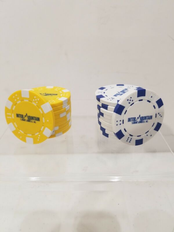 1000 Intermountain Turbine Services Clay Composite 11.5g Poker Chips Blue Yellow