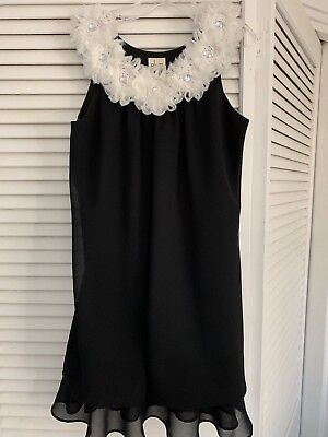 Girl's Plumb Dress Size 8 Black Floral Collar W/ Crystal Center Fully Lined (Plumb Dress)