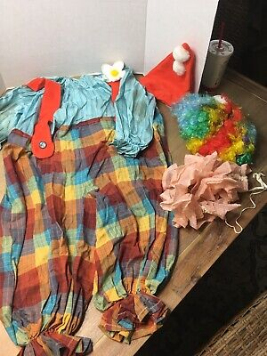 Homemade Clown Costume Child Size Small with colorful wig Halloween
