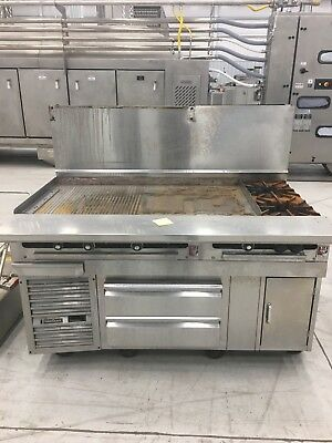 Commercial flat top grill with griddle. 2 gas burners, 2 cold drawers.