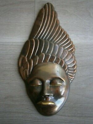 Face Female Sculpture Bronze Golden Antique Deco Wall Zen Asia