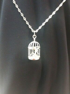 RARE 2007 Sterling Silver PLAYBOY Necklace Bunny Mud Flap Girl Pendant Bird Cage