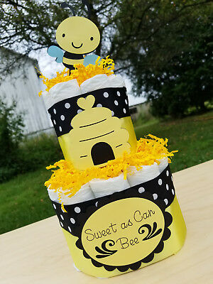 2 Tier Diaper Cake - Sweet as Can Bee Bumble Bee Theme Diaper Cake - Baby Shower