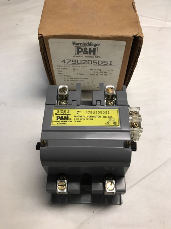 P&H Harnischfeger 479U205D51 Size 2 Contactor 1 Phase 2 Pole