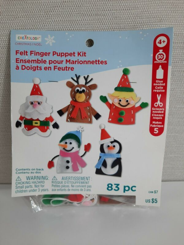 Creatology Felt Finger Puppet Kit Christmas Santa Elf Reindeer etc New 5 Puppets