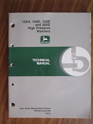 John Deere 10xh 10xe 15xe 20xe High Pressure Washer Technical Repair Manual
