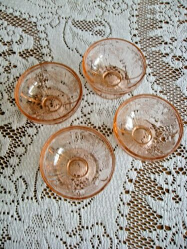 """Federal Glass Co. SHARON """"Cabbage Rose"""" Pink Footed Sherbets - Set of Four"""