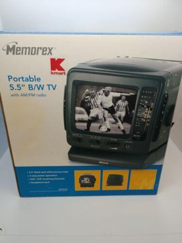 "MEMOREX PORTABLE TV TELEVISION 5.5"" B/W TV Radio Tailgatin"