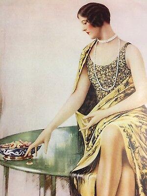 Vintage 1929 Huntley & Palmer Color Cookie Ad Flapper Pearls Short Hair Dress +