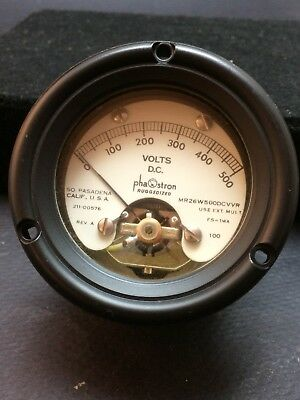 Phaostron Ruggedized Meter 0-500 Nos Mr26 W500 Dcv 211-00576 Volt Panel Gauge