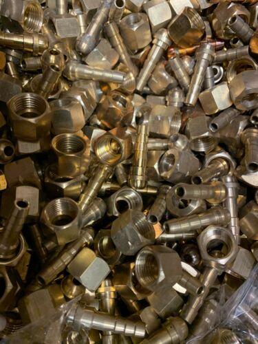 10lb lot - Mixed Oxygen & Acetylene Welding 1/4 Inch B Size Hose Repair - Brass