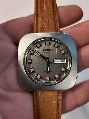 Vintage Seiko DX Automatic Wrist Watch 6106-7509 Stainless Steel Orange Markers