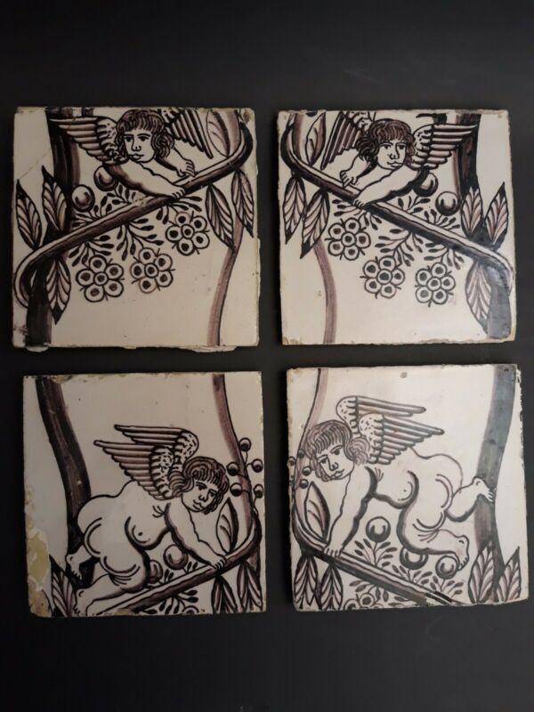 Set of Four Antique Delft Manganese Cherub Tiles