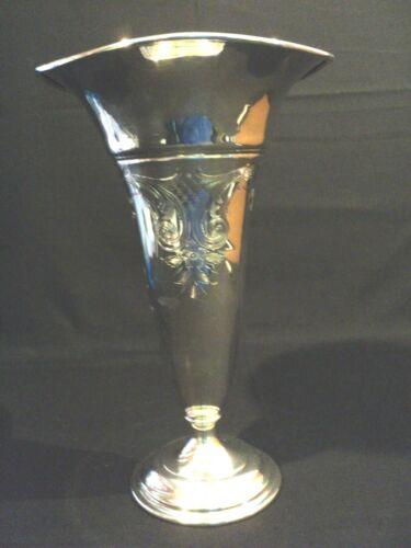 """Gorham Sterling Silver 11"""" Trumpet Vase, Engraved Flowers"""