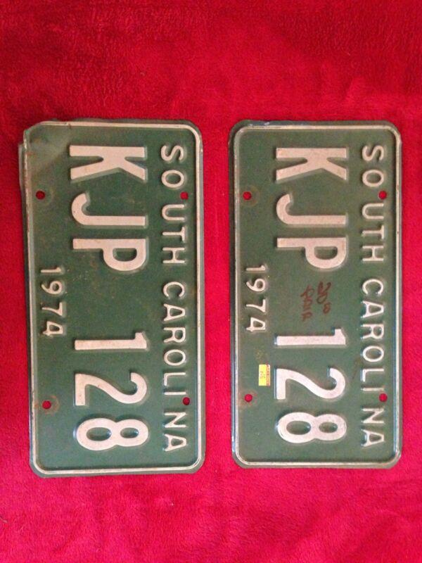 1974 South Carolina License Plates Matching Tags
