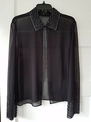 JKARA NEW YORK fancy beaded shear black long sleeve black Size XL for sale  Roseburg