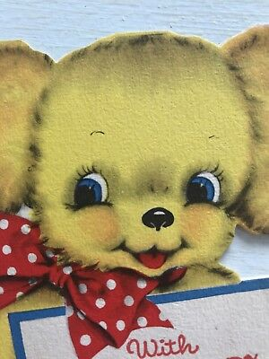 Vintage Fathers Day Card Puppy Dog polka dot bow 1942 blue eyes die cut