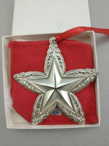 1995 Lunt Star Sterling Silver Christmas Ornament New, Unused, w/Box and Bag