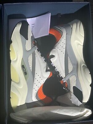 DIOR B22 Sneakers WITH RECEIPT FROM DIOR STORE NY White Black Orange SIZE 41
