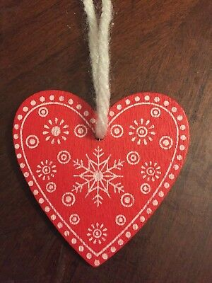 Wooden Heart Shaped Painted Christmas Ornament with Snowflakes $10=Free Shipping - Heart Shaped Ornaments