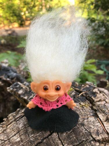 "All Original Vintage 1960s 3"" Thomas Dam Troll Doll w/Bulging Glass Bug Eyes"